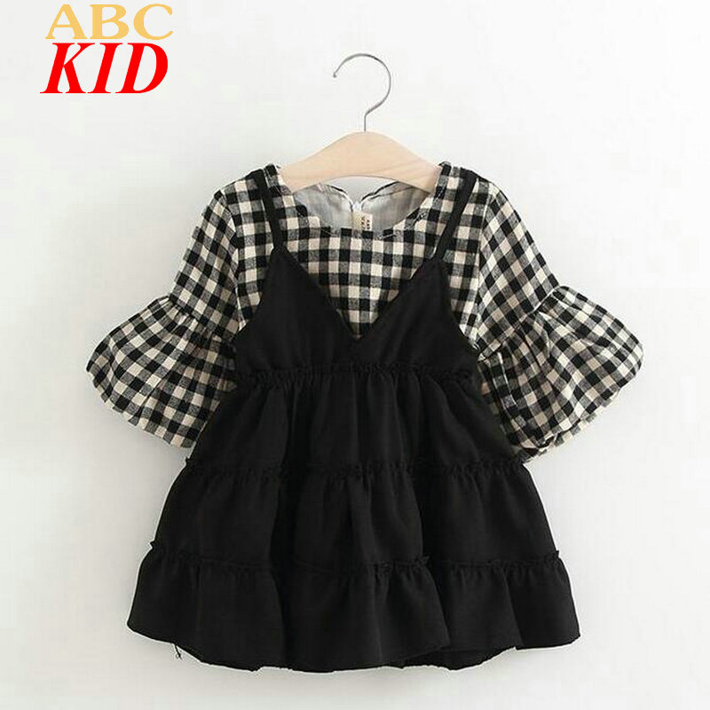 2017 Spring Girl Dress Plaid Flare Sleeve Dresses Kids Sweet Korean Dress Infants Girls Clothes One Piece BDS003<br><br>Aliexpress