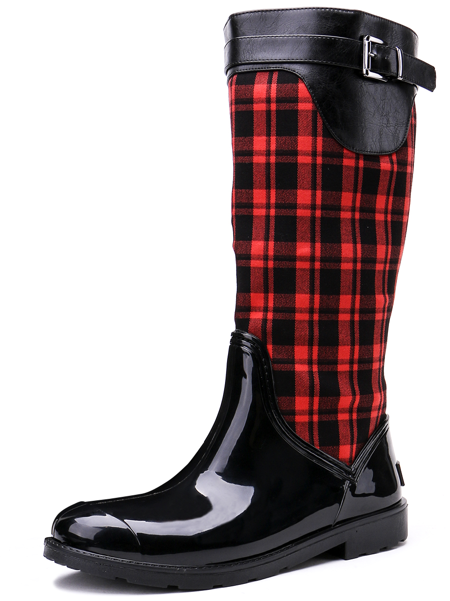 TONGPU Black and Red Fashion Design Womens Mid-Calf Side Zipper Waterproof Outdoor Rain Boots 154-269<br>