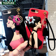 YESPURE Sexy Girl Phone Cover for Iphone 6s 6Plus 7 7plus Fancy 3D Soft Silicone Cartoon CellPhone Cases Tassels Strap Capa
