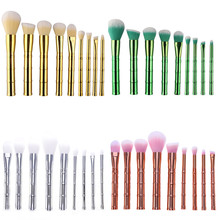 9Pcs/set Bamboo Brush Set Brush Green Golden Sliver Rose Gold Makeup Brushes Powder Foundation Blusher Face Brush 2017 NEW