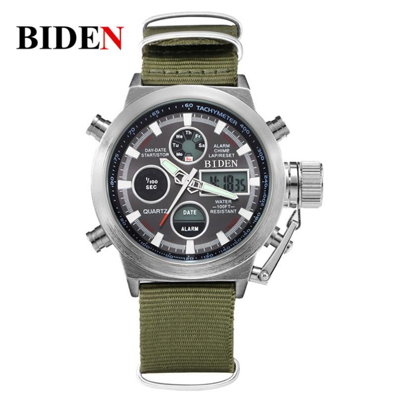 2017 luxury Brand BIDEN Hot Brand Quartz Digital Sports Watch Men  Nylon LED Army Waterproof Diving Wristwatch Reloj Hombre<br><br>Aliexpress