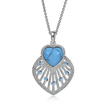 Love Heart Large Pendant Necklace for Women Fashion Silver/Black Color Turquoise Jewelry