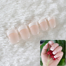 Fashion 24Pcs Natural Short False Nails Acrylic Nail Art Tips Glitter Smooth Style Full Cover Nail Art Decoration with Glue(China)