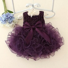 DQ0261  Hot Lace flower girls wedding dress baby girls christening cake dresses for party occasion kids 1 year baby girl clothes
