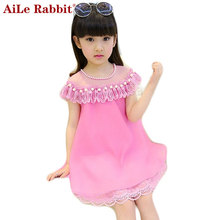 AiLe Rabbit 2017 New Summer Costume Girls Princess Dress Children's Evening Clothing Kids Chiffon Lace Dresses Baby Girl Dress(China)