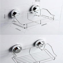 Stainless Steel Kitchen Bathroom Shower Shelf Storage Suction Basket Caddy Rack Holder Bathroom Products F916(China)