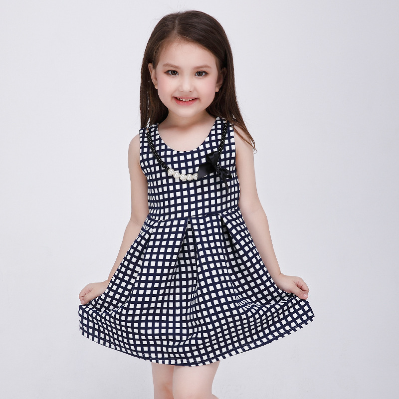 girls summer dresses plaid fashion Costume beads Children Clothing Girl Kids birthday Party Clothes Cotton Teenage Girl Clothing<br><br>Aliexpress