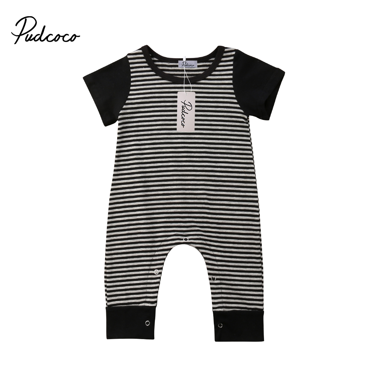 2018 Brand New Newborn Infant Toddler Baby Boy Kid Overall Romper Jumpsuit Striped Short Sleeve Clothes Patchwork Summer Outfits(China)