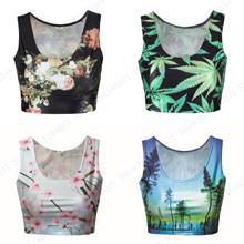 Vintage Flower Floral Crop Top Tanks Green Leaves Coco Trees Tube Tops Sleeveless Nature Landscape Running Vest Women Bustier(China)