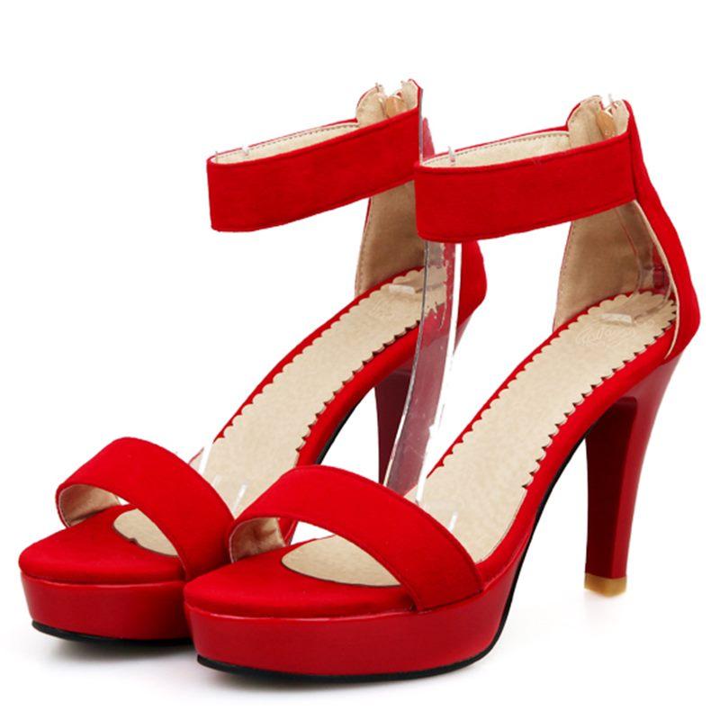 Hot Sale 2017 New Brand High Heels Sandals Summer Platform Sandals for Women Fashion Buckle Thin  Heels Big Size 34-43<br><br>Aliexpress