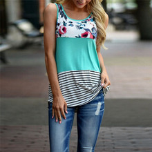 Womail Fashion Women Polyester Floral Print Lace Broadcloth Patchwork Vintage Casual Sleeveless O-Neck T-shirt #23 - Merry Boutique store