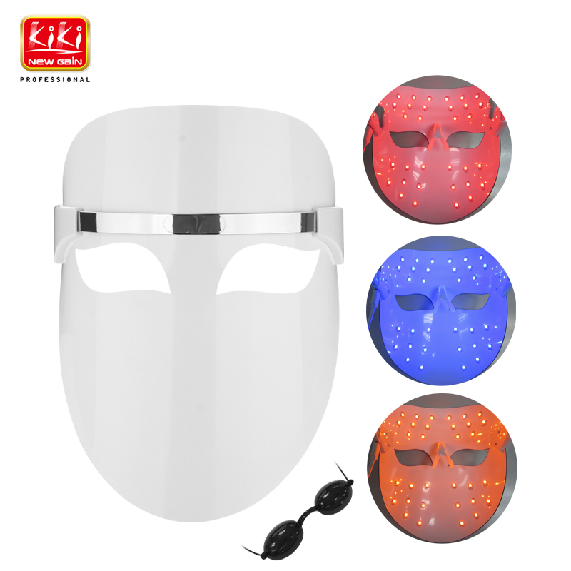 2017 KIKI 32 LEDs Facial Mask Red blue orange color Photon Electric Skin PDT Boosts blood circulation Relieves stress on skin(China (Mainland))