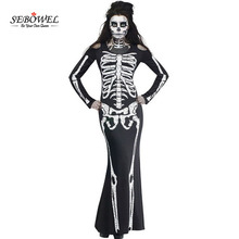 SEBOWEL 2017 Halloween Cosplay Skull Performance Dresses Fancy Long Skeleton Dress Adult Carnival Party Costume for Women