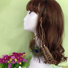 Women's Clothing Accessories Made with Hand Indian Style Bohemian Hair with Peacock Feather Headband(China)