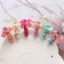 C 2017 Cute Style Girls Children Shiny Ribbon Bow Princess Hairpins Peas Round Hair Clip Hair Accessories Letter Barrettes(China)