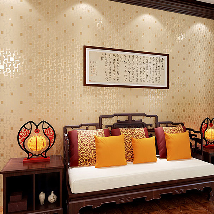 Classic new Chinese classical wallpapers living room study room televard TV wall wallpaper retro window grille, wall paper<br>