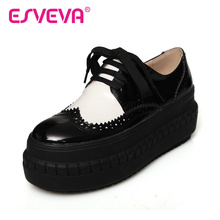 ESVEVA  Western Style Mixed Color Round Toe Pu Patent  Leather Platform Lace UP Women Pump Autumn/Spring Miss Party Shoes White