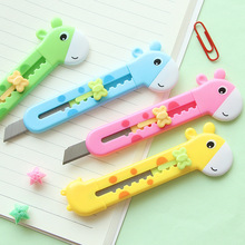 New creative Cute Cartoon deer animal mini utility art knife Pocket type School Student Children Office cut knife free delivery(China)