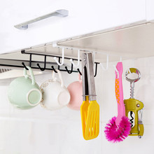Creative Iron Cabinet Wardrobe Hangers Free Nail Kitchen Storage Rack With 6 Hooks()