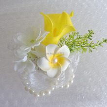6pcs PU Artificial Calla Lily Frangipani Bride Boutonniere Wedding Church Decor Pearl Bracelet Wrist Corsage Flower White FL5032