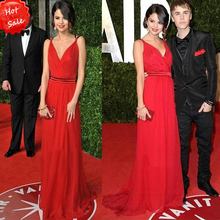 Elegant Sexy V-Neck Prom vestidos taylor Chiffon Evening Gowns Red Long Celebrity Red Carpet Dress 2015