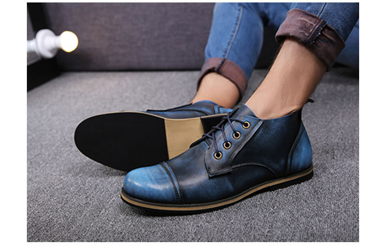 COSIDRAM Plus Size 47 Men Boots Genuine Leather High Top Men Shoes Fashion Ankle Boots For Men Winter Shoes Male Botas RMC-082 11