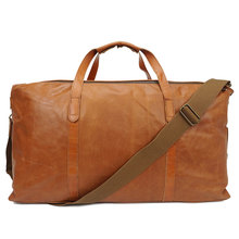large vintage Men's Genuine Leather Weekend Overnight Travel Duffel Bag Boarding Bag oil-wax cow Leather luggage Travel bags