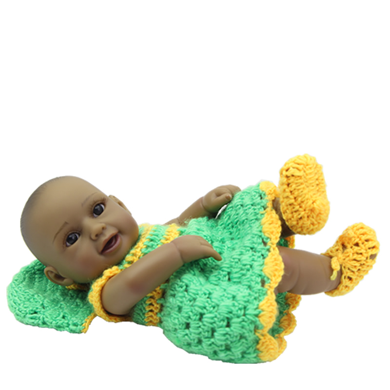 Handmade New 11 Inch Mini Reborn Baby Girl Black Full Silicone Vinyl Princess Babies Toy With Knitted Dress Kids Birthday Gift<br>