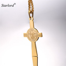 Saint Benedict Cross Pendant Necklace Stainless Steel St. Benedict Of Nursia Christian Jewelry For Men/Women GP2517(China)