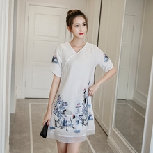 2017 New Spring Summer Vintage Women dress Embroidery Slim National Plate Buckles Cranes In Long Chinese Wind Dresses 3003(China)