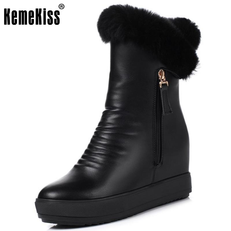 KemeKiss Women High Wedges Boots Warm Fur Snow Boots Half Short Boots Cold Winter Boots Short Botas Women Footwears Size 34-39<br>