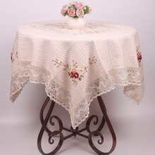 Chinese Traditional Ribbon Embroidered Table Cloth / 100% Pure Cotton Handmade Table Cover