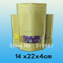 Standup kraft paper bag with window and zipper for food 14x22x4cm 100pcs/lot(China)