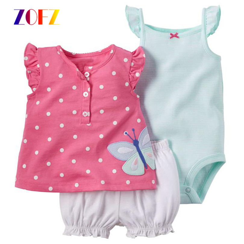 ZOFZ Cotton Baby girl clothes polka dot pattern Baby Clothing Set baby rompers Girls summer Sets 3 pieces/set=1 set+ 1 romper<br><br>Aliexpress