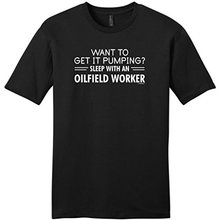 OKOUFEN Cheap Tees Men's Cotton Crew Neck Short Sleeve Get It Pumping Sleep with An Oilfield Worker Shirts(China)