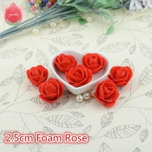 Cheap 10pcs Mini PE Foam Red Rose Artificial Flowers For Wedding Car Decoration DIY Wreath Handmade Scrapbooking Fake Flowers