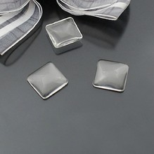 25pcs/lot 12MM Square Flat Back Clear Glass Cabochon, High Quality, Lose Money Promotion!!!(Z4-10)(China)