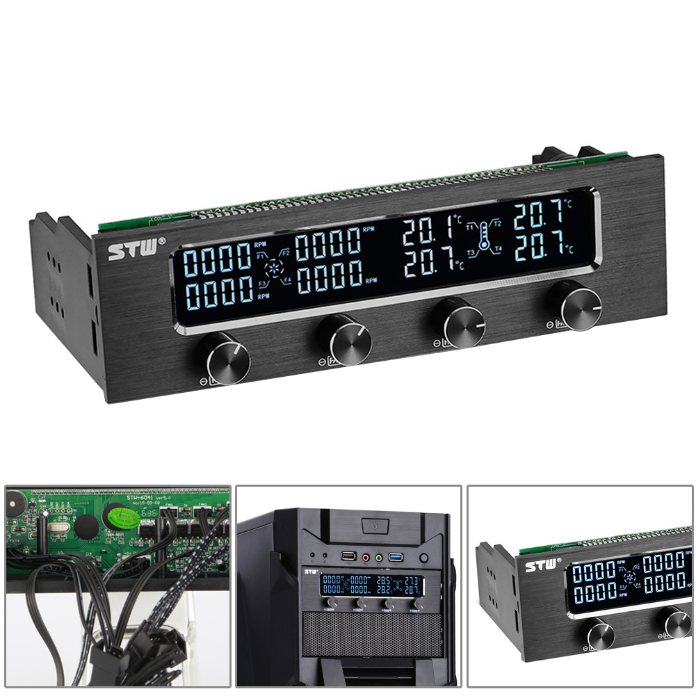 LCD Screen Panel Fan Speed Temperature Controller Governor PC Hardware Protector 5.25in Drive Bay Computer Component Cooling<br>