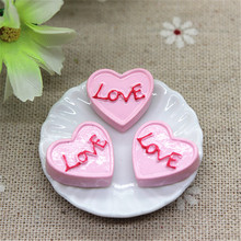 10pcs Cute Artificial Food Resin Heart Pink Cake Craft DIY Embellishment Accessories Scrapbooking Decoration,17*18mm(China)