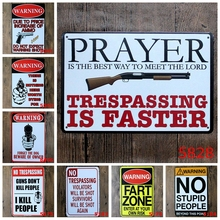 Vintage Gun Warning Tin signs No Trespassing Signage Coffee Bar Restaurant Shop Home Wall Decorative Hanging Metal Plaque YN044(China)