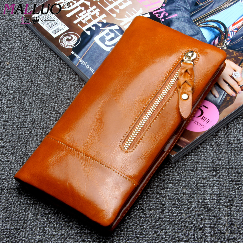 MALLUO Genuine Cow leather wallets Oil Wax Cowhide Coin Purse Large Capacity Carteira Portefeuille Femme Famous Vintage Brands <br><br>Aliexpress