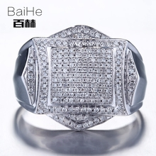 BAIHE Solid 14K White Gold(AU585) 0.88CT Certified H/SI Round Cut 100% Genuine Natural Diamonds Wedding Men Casual/Sporty Ring(China)
