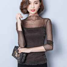 Buy new fashion women slim sexy long sleeve Ear Stand collar spring autumn shirt female girls lace Chiffon pullover tops clothing for $8.80 in AliExpress store