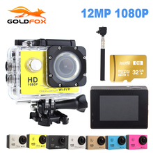 Goldfox Action Camera 1080P Full HD 30M Action Camera Go waterproof pro Sport DV Bike helmet Car Cam Car Dvr With Retail Packing