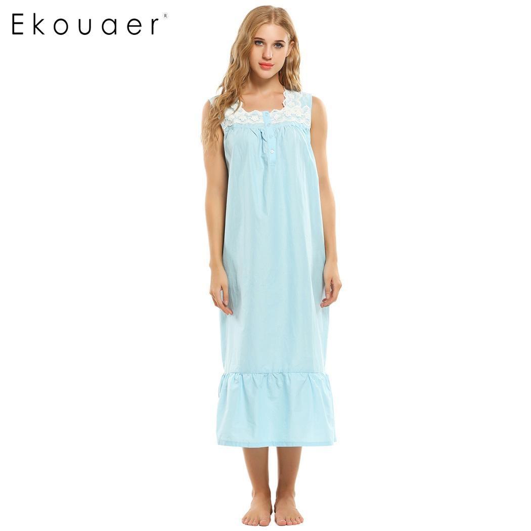 Ekouaer Women's Cotton Victorian Vintage Lace Long Nightgown Sleepwear