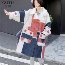 [GUTU] 2017 Autumn And Winter New Korean Pocket Long Sleeves Stitching Color Lapel Thick Woolen Long Section Coat Woman E92509
