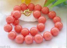 Genuine 10mm South Sea Coral Color Shell Pearl Round Beads Necklace 18'' AAA style Fine Noble real Natural free shipping