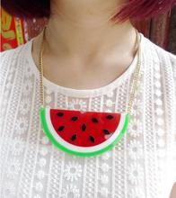 Fashion Personality Club Jewelry Accessories Gold Metal Chain Half Watermelon Acrylic Pendant Hiphop Necklace