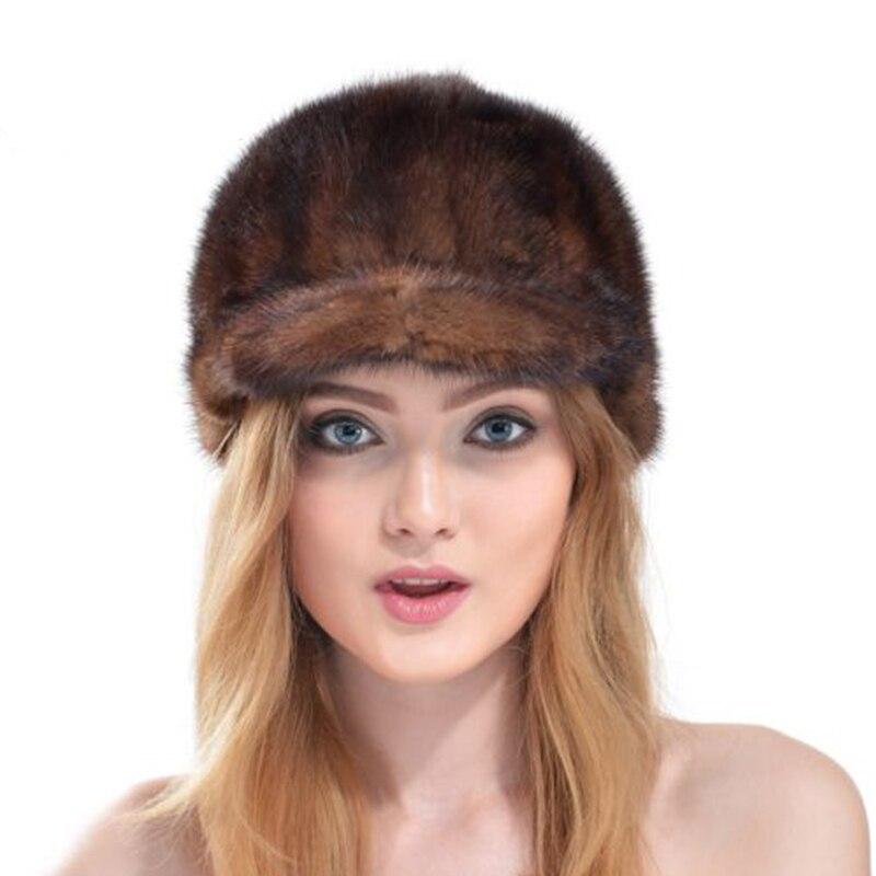 Mink knight cap Women fur with ball poms Snow ball Cap Winter Hats for Girls Skull Cap Real Fur Knitting Skullies Women HatsОдежда и ак�е��уары<br><br><br>Aliexpress