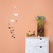 Factory Price! New Silver Bling Bling Acrylic 3D Butterfly Design Mirror Effect Wall Sticker DIY For Artistic Living Room